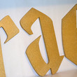 Glittery Gold Harry Potter Style Letters - Solid Colored Wooden Letters with Sparkles and Glitter