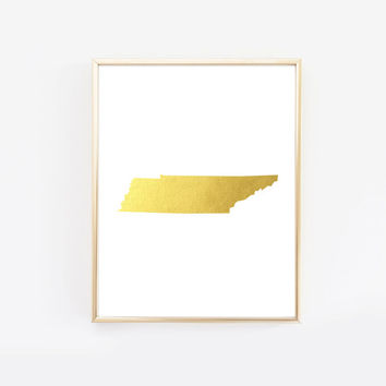 Tennessee State Gold Foil Art Print
