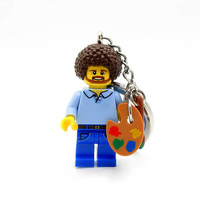 Bob Ross Happy Little Custom Figure Crafted With LEGO® Elements - Keychain or Necklace Options!