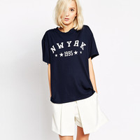 Dark Blue NWYRK Star Print T-shirt