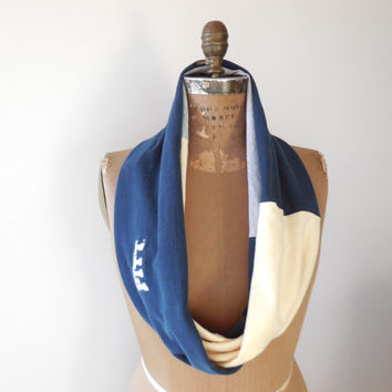 University of Pittsburgh T Shirt Infinity Scarf / PITT / Panthers / Navy Blue / Gray / Gold / Upcycled / Recycled / Winter / Soft / ohzie