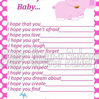 Wishes for Baby, Pink Elephant Baby Shower Game, Pink Elephant Baby Shower Activity, Printable Wishes for Baby Activity