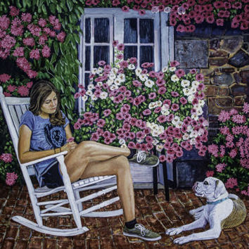 A Girl And Her Dog original Oil Painting 48.000 x 36.000 x 1.50 inch on canvas