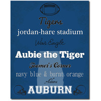 Auburn Tigers Football Subway Art Print Alabama Home Decor 8x10 Typography