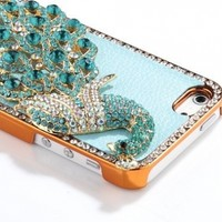 SODIAL(R) Deluxe Light Blue Leather Light Blue Diamond Rhinestone Bling Peacock Hard Case Cover for Apple iPhone 5 5G + Screen Protector