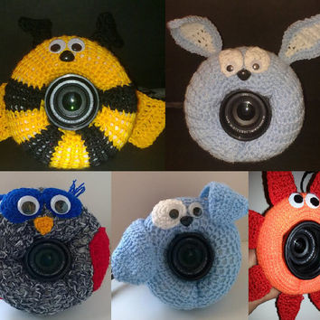 Camera Cover, Photographer Equipment, Colorful Camera Cover, Lens Buddy, Crochet Bee, Crochet Dog, Crochet Owl, Crochet Flower