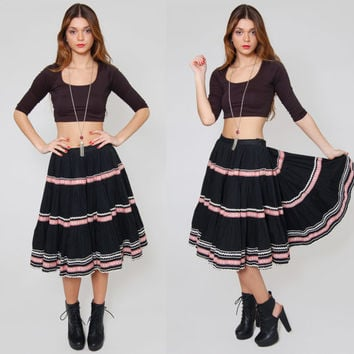 Vintage 50s CIRCLE Skirt Ruffled Tiered Black Western Square Dane ROCKABILLY Swing Skirt