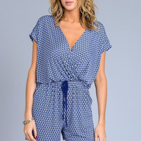 Coastal Getaway Romper - Navy and Blue