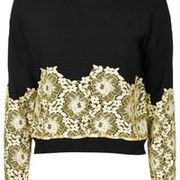 Lace Applique Sweater - Black