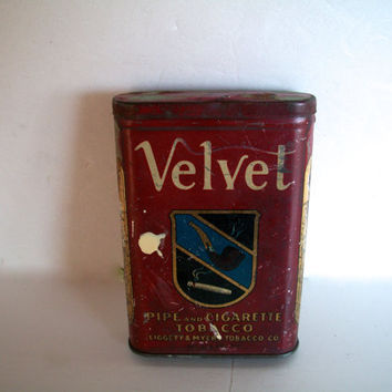 Vintage Tobacco Tin Velvet Brand Hinged Lid Distressed Aged Rusty 4 & 3/8  X  2 And 3/4 Inches