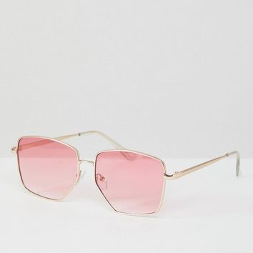 ASOS Metal Cut Away Detail Square Fashion Sunglasses In Pink Fade Lens at asos.com