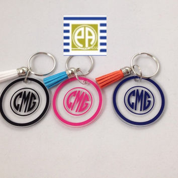 Key chain, Monogram Key chain, key chain with tassle, Personalized Key chain, Preppy gift, wedding favor, birthday favor, Personalized gift,
