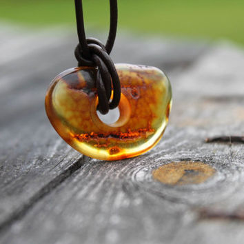 Baltic Amber Necklace Dude Jewelry Leather Pendant Charm Oval Fathers Gift for him Men Boyfriend OOAK Fall