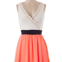 V-Neck Lace Dress - Neon Coral