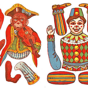 monkey clown boy circus articulated paper doll clip art digital download collage sheet graphics kids printables paper crafts