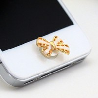Enamel Bowknot Bow Home Return Keys Buttons Sticker for Iphone 4s Iphone 5 Ipod Touch iPad