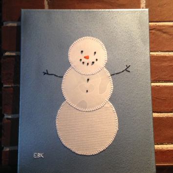 Large Snowman #1 Fabric Wall Art