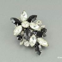 Abstract Brooch Pin Crystal & Black Rhinestones Floral Design