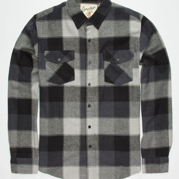 Coastal Basset Mens Flannel Shirt Charcoal  In Sizes