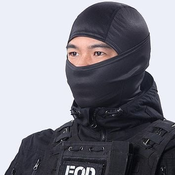 CS Breathable Balaclava Combat Tactical Airsoft Army Paintball Bicycle Snowboard Warmer Sun Hats Solid Full Face Mask Black