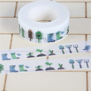 1 Pc / Pack Nice Trees 1.5cm X 10m Washi Paper Masking Tapes For Scrapbooking Diy