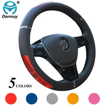 DERMAY Hot Sell Dragon Design Faux Leather Auto Car Steering Wheel Cover 38CM 15'' Anti-catch Holder Protector Free Shipping