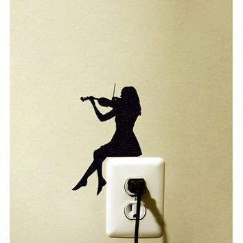 Violin Girl Switch Sticker Decoration Vinyl Wall Decal Room Home Decoration 5WS0063