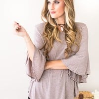 Kiss And Tell Blush Flare Sleeve Top