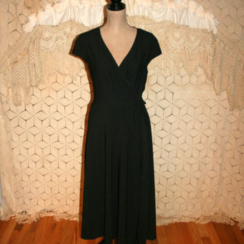 Vintage Wrap Dress Black Dress Goth Dress Short Sleeve Dress Cap Sleeve Funeral Dress Jonathan Martin Size 14 Dress Large Womens Clothing