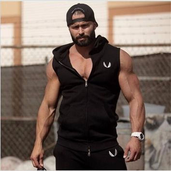 Mens Casual Cool Stylish Sleeveless Workout Hoodie