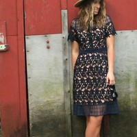 Geo Fit and Flare Crochet Lace Dress