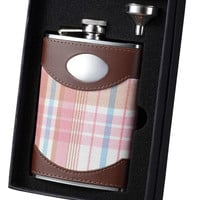 Hannah Pink Plaid and Leather Flask and Funnel Gift Set - 8 oz