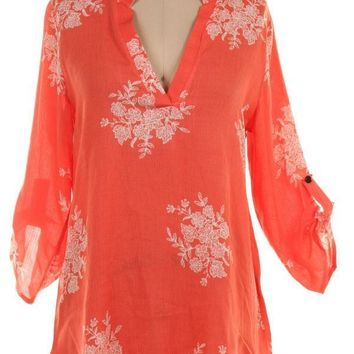 (pre-order) Coral Floral Rolled Sleeve Blouse