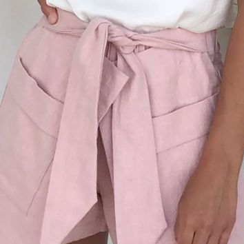 Hermosa Hottie Pink Elastic Waist Wrap Tie Belt Pocket Shorts