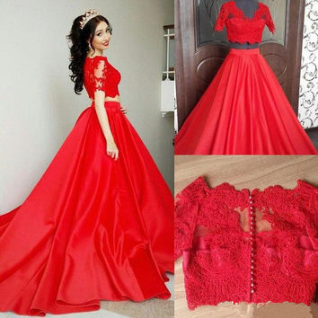 Two Piece Short Sleeve Red Prom Dresses