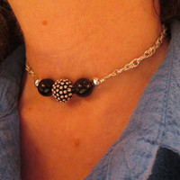 Black Onyx and Textured Silver Beads Black Ball Necklace