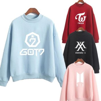 KPOP BTS Bangtan Boys Army Twice wanna one Love Women Sweatshirt Hoodies  Love Yourself Tear Hot Sale Print Girls Cool Sweatshirt Fashion Plus S-XXL AT_89_10