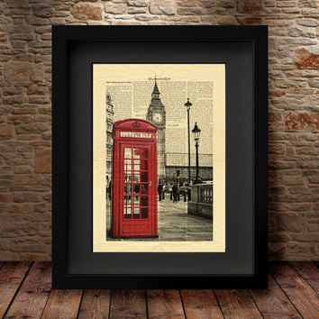 London Red Phone Booths Art Print, Book Page Art, Vintage London Photo, London Icon Wall Decor