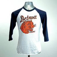 Detroit Tigers // vintage 1935 penant inspired design // white/navy 3/4 sleeve raglan