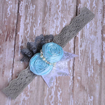 Clouds In The Sky boutique headband - M2M Mustard Pie Aqua