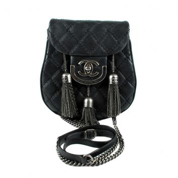 Chanel Crossbody Tassel Bag - Edinburgh CC Logo Black Leather Silver Small Mini