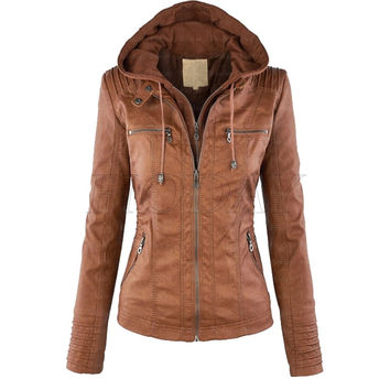 Faux Leather Jacket Women 2017 Winter Coats Slim Plus Size Female PU leather Jackets Hooded Zip-up Leather Jacket Coat For Women