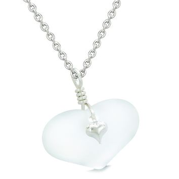 Unique Puffy Heart Frosted Sea Glass Snow White Life and Positive Powers Amulet 22 Inch Necklace
