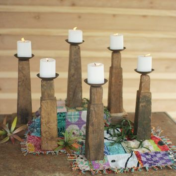 Repurposed Wooden Furniture Leg Candle Holders (Set of 6)