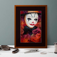 Extra Large Fine Art Print Clown Photography. Circus Photo Wall Art Clown in Mask. Colorful Home Decor Circus Photography Vertical Clown Art