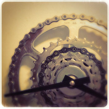 Bicycle Gear Clock Bike Chain Wall Clock Recycled Bike Parts Clock Steampunk Clock
