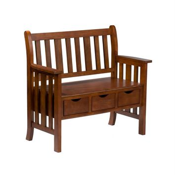 Lovely Wooden Oak Country Bench with Three Drawers by Southern Enterprises