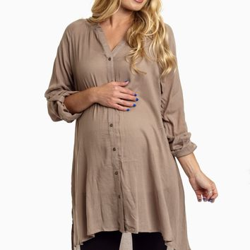 Taupe-Button-Up-3/4-Sleeve-Maternity-Top