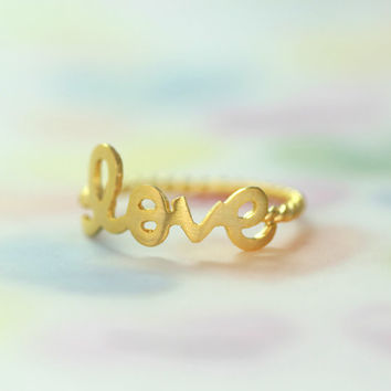 Gold Neat Love Ring/ Be Written In Cursive Script Letters