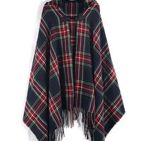 Navy Tartan Plaid Soft Hooded Cardigan